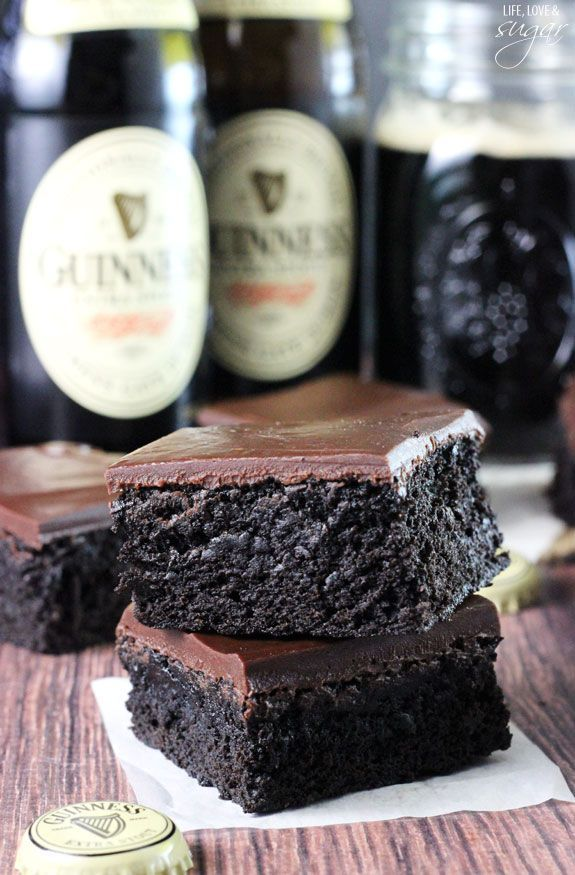 Guiness Brownies - super moist and chewy brownies! A delicious mix between cake and fudgy! You won't be able to stop eating them!