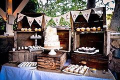 Rustic country wedding cake display.