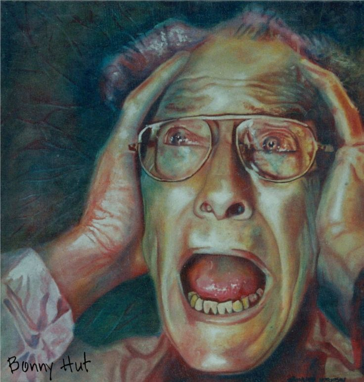 """""""The Scream"""" an emotive oil painting portrait of an older man done done by artist, Bonny Hut. She painted this when she moved from South Africa to New Zealand. The contrast between the vibrant but chaotic and somewhat dangerous life of Africa to the tranquil but isolated aspects of New Zealand were initially a shock to her. This painting portrays how she felt at the time."""
