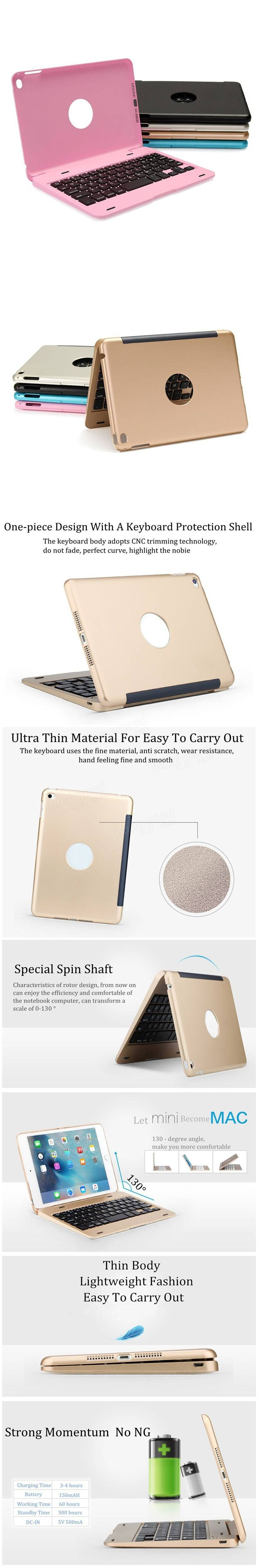 For Apple iPad Mini 4 Folio Rechargeable Wireless Bluetooth Keyboard Smart Case Cover