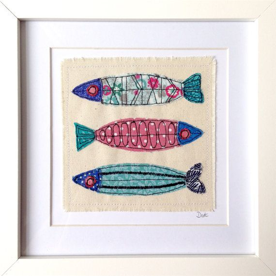 Fish framed wall art picture gift, personalised machine stitched fabric applique. Birthday. Animal, wildlife, nautical