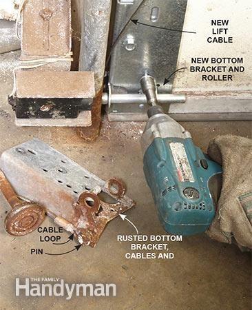 Advanced Garage Overhead Door Repairs: Replace the rusted parts at the bottom of the overhead garage door. Read more: http://www.familyhandyman.com/doors/garage-door-repair/advanced-garage-overhead-door-repairs/view-all