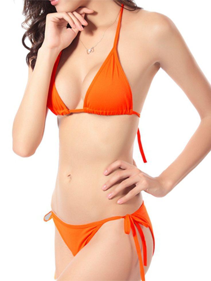 Women Sexy Halter Backless Plunge Swimwear Lace-Up Pure Color Bikini Sets