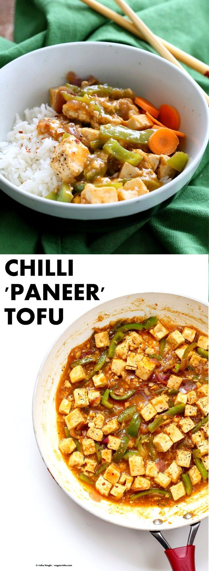"Chilli Tofu - Indian Chilli ""Paneer"" Recipe. Chilli Paneer is an Indo-chinese fusion stir fry served with other fusion noodles or fried rice. Crisp Tofu replaces the Paneer cheese in this delicious and quick version. Vegan Gluten-free Nut-free Recipe 
