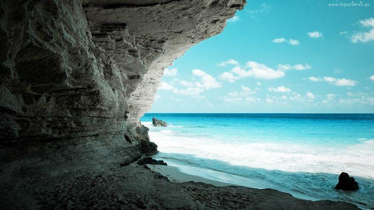 Jaskinia, Skały, Morze, Fale