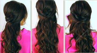 romantic, everyday curly hairstyles hair tutorial   half-up updos with curls for medium long hair   prom wedding for school/work