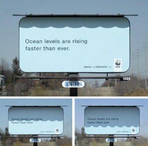 Proste wykorzystanie zmieniającego się w cyklu dnia nasłonecznienia przyniosło niesamowity efekt w kampanii organizacji ekologicznej WWF, zwracającej uwagę na problem globalnego ocieplenia.