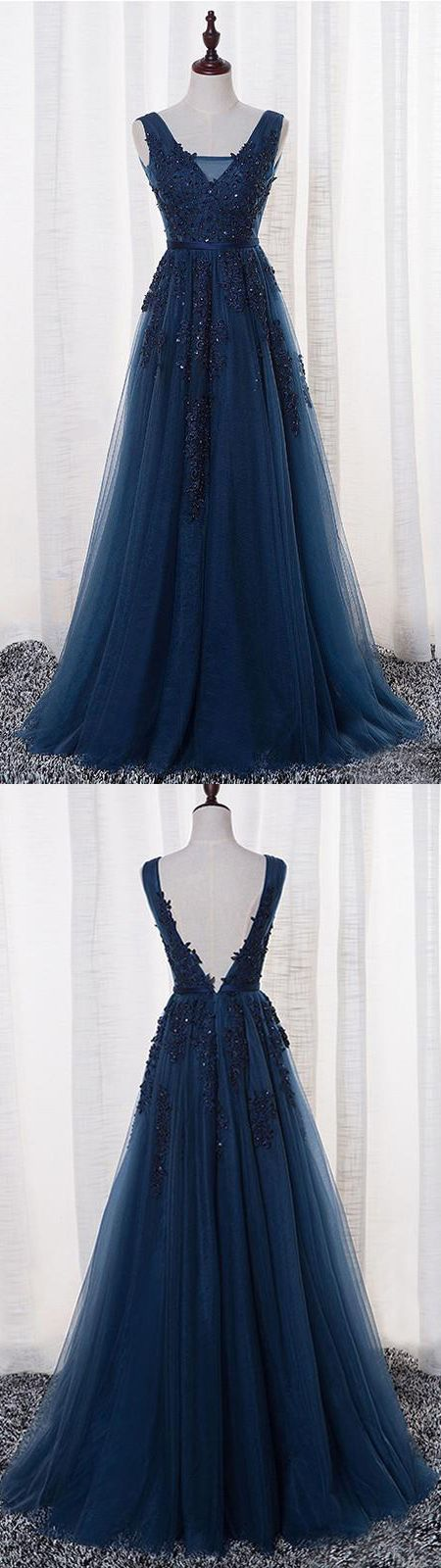 New Arrival A-Line V-Neck Sleeveless Navy Blue Tulle Long Prom Dress