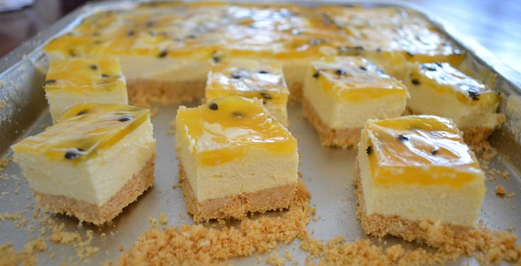 Passionfruit Cheesecake Slice. Find the recipe at www.whatscookingella.com/blog/passionfruit-cheesecake-slice2