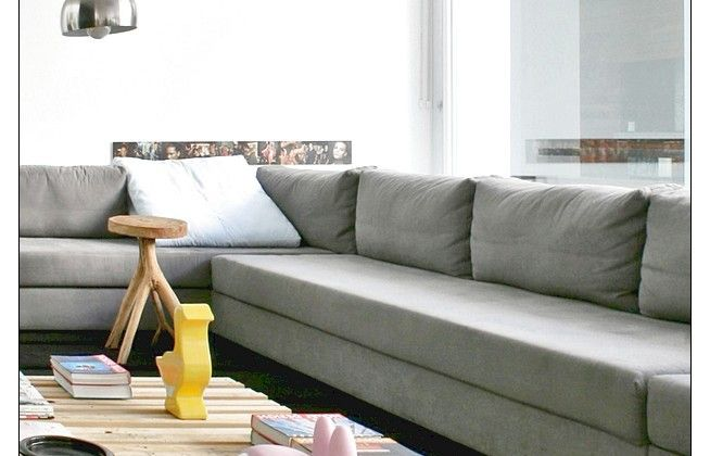 Simple Long Grey Sofa Contemporary Furniture Ideas
