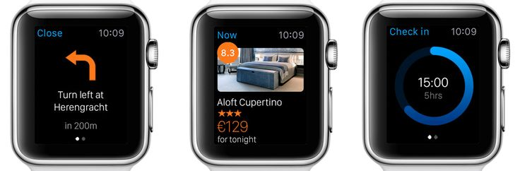 Screens from Booking.com App for Apple Watch