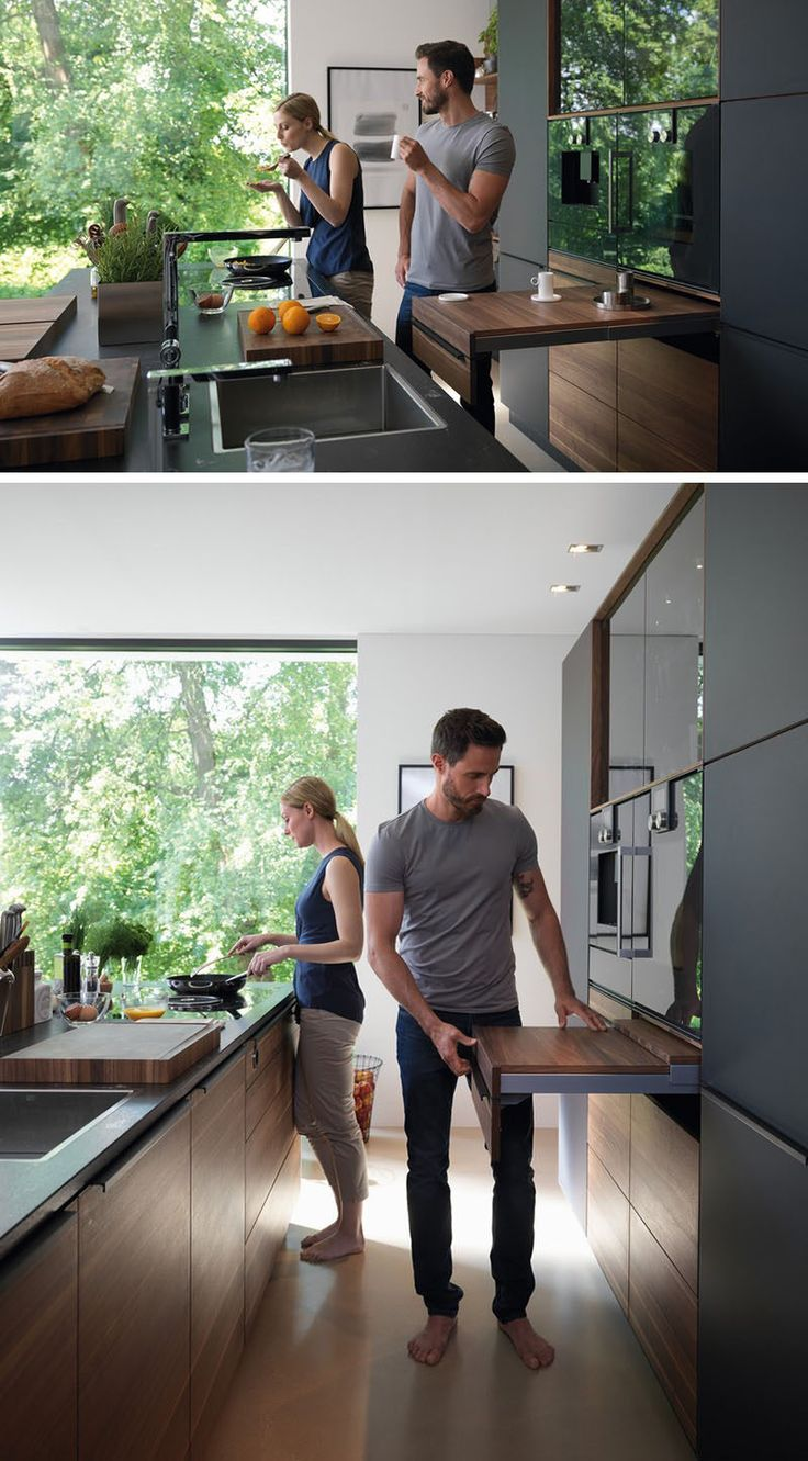 Kitchen Design Idea - Pull-Out Counters (10 Pictures) // An adjustable pull-out counter gives you the freedom to create as much or as little additional counter space as you need.