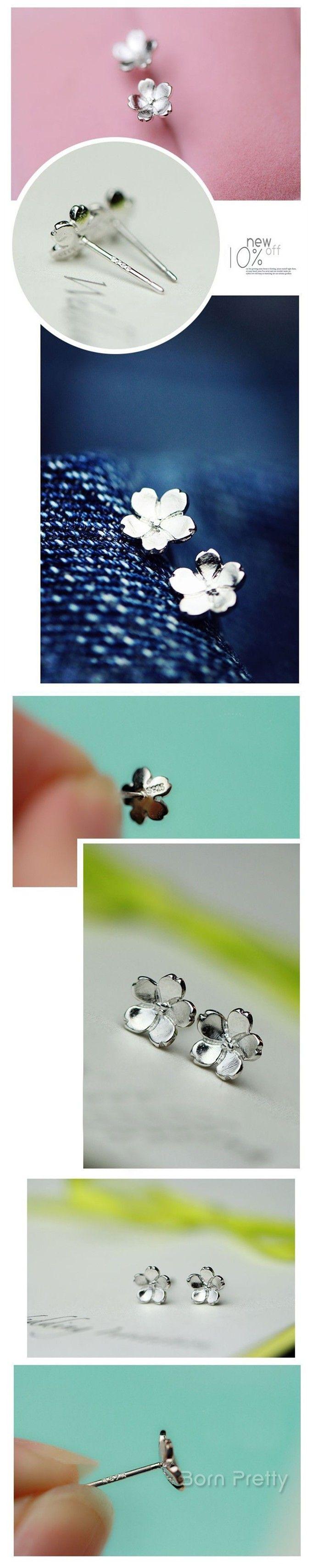 # 24839 JPY ¥243 1ペア 綺麗な花フラワーシルバーおしゃれピアスファッションアクセサリー&ジュエリー  - harunouta.com