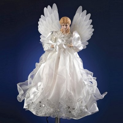 Anim White/Silver Fibero-Pointic Angel Tree Topper