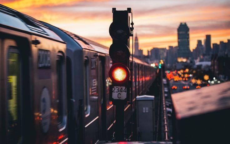 Скачать обои поезд, высокая линия, сигнал метро, раздел город в разрешении 1680x1050
