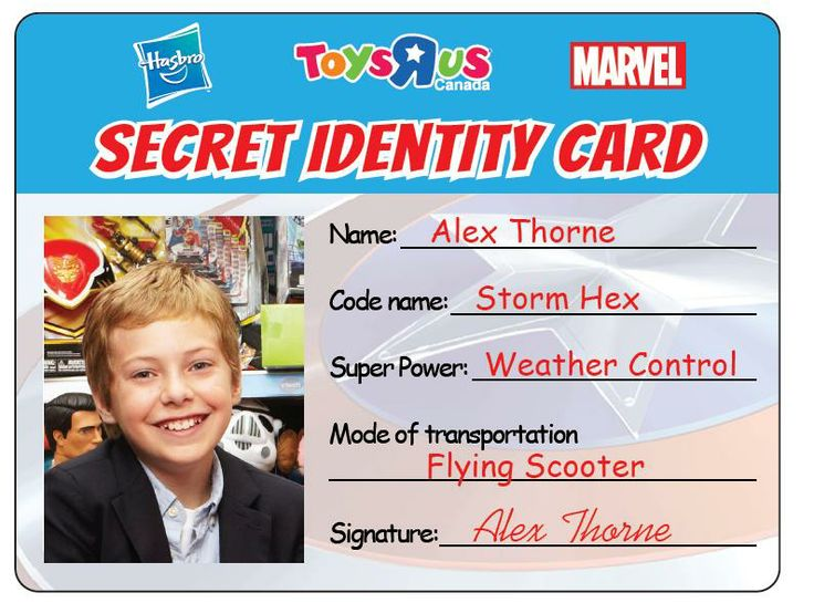 Don't forget to dress up as your favourite Superhero and receive a personalized SECRET IDENTITY CARD, plus super savings on all Hasbro Marvel products! Check out our CPO (Chief Play Officer) Alex's card! See you tomorrow! #PLAYDAY