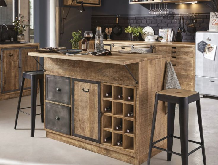 Kitchen Base Units, Stools For Kitchen Island, Modern Kitchen Island, Rustic Kitchen, New Kitchen, Kitchen Decor, Modern Bar Stools, Central Kitchen, Black Kitchens