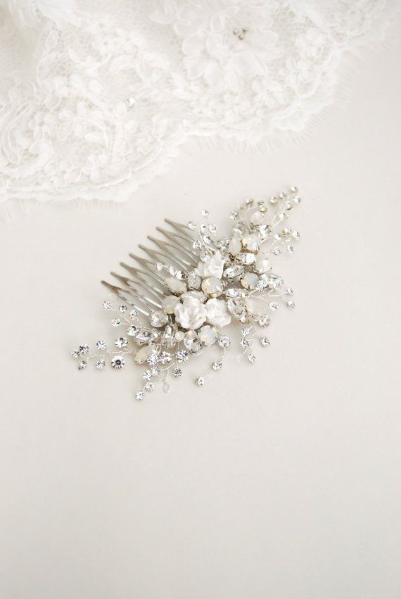 Jeweled hair comb, wedding crystal hair piece, bridal hair brooch, white and…
