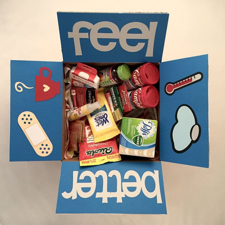 """Is someone you know feeling under the weather? Can't be there for your loved one while they are sick? Send them a box of """"therapy"""" with our Feel Better care package.  Please remember to write your sh"""