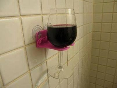 The latest bathroom accessory, the shower wine holder! Who wants one? #amazing