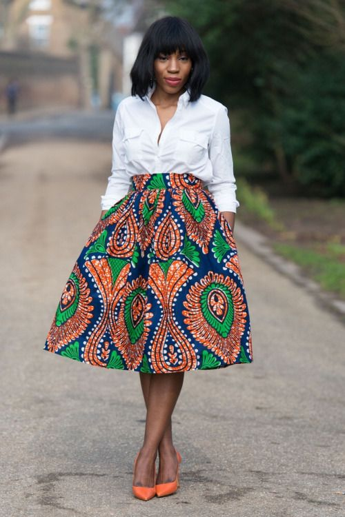 African print skirt.