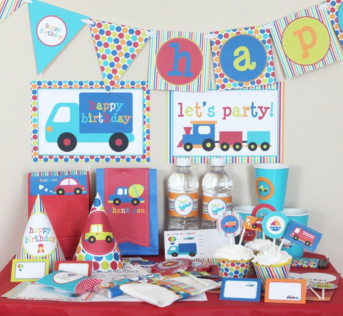 Transportation Birthday Party Decorations - Boy Birthday Party - Printable Party Kit - Planes Trains Automobiles Party - Instant Download by stockberrystudio on Etsy https://www.etsy.com/listing/71620204/transportation-birthday-party