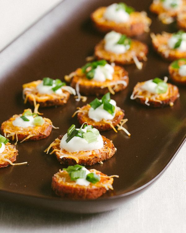 Loaded Sweet Potato Rounds -- can be made vegetarian and great as housewarming hors d'oeuvres! | acouplecooks.com
