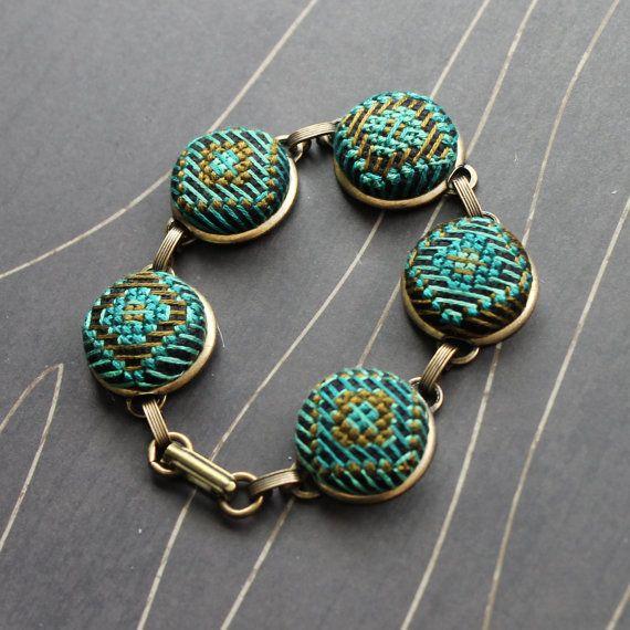 Southwest Sun cross stitch bracelet silver by TheWerkShoppe