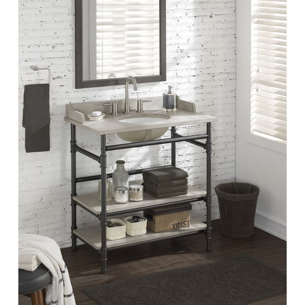 36 inch industrial open shelf vanity with backsplash you