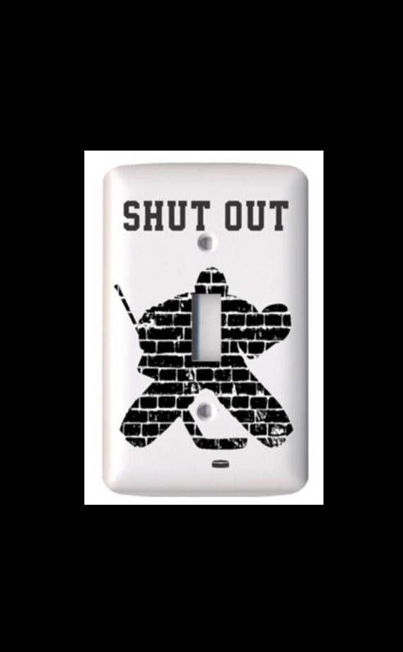 This hockey goalie light switch cover will look great in your house. Add this unique conversation piece and perfect hockey touch to any room. You will love the high quality of this item and it makes a perfect gift too! This is available in two choices: White or Glow in the Dark