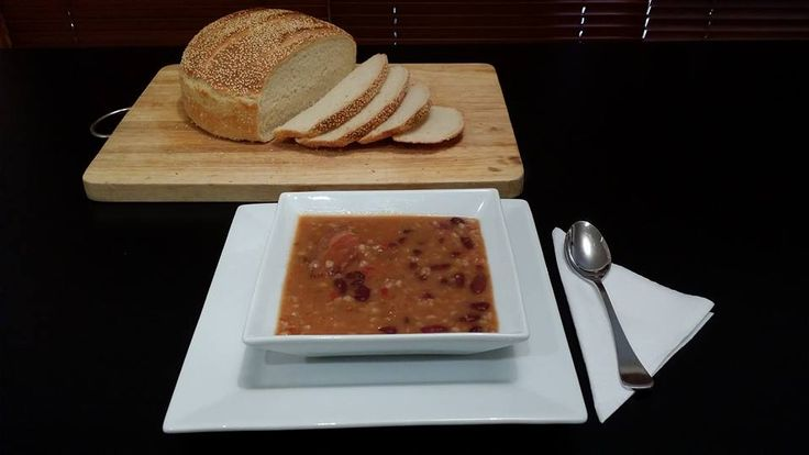 Bean & Barley stew, with freshly baked bread. Made with kidney beans, barley and smoked meats.