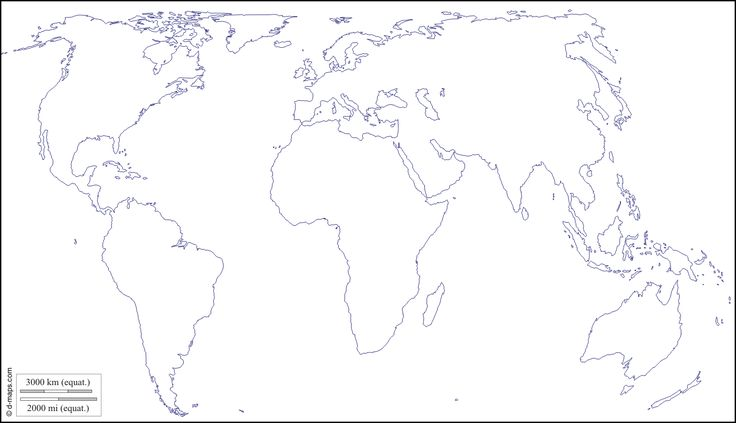 Planisphère centré Europe Afrique : carte géographique gratuite, carte géographique muette gratuite, carte vierge gratuite, fond de carte gratuit : littoraux (blanc)