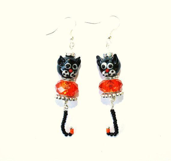 Halloween Witch Cat lampwork dangle earrings by IraleneJewellry, $22.99