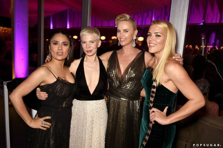 Pictured: Salma Hayek, Michelle Williams, Charlize Theron, and Busy Philipps