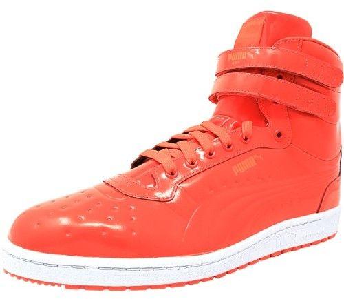 Hot Sale Mens Casual Shoes - Puma Sky II Hi Patent Emboss Red Blast