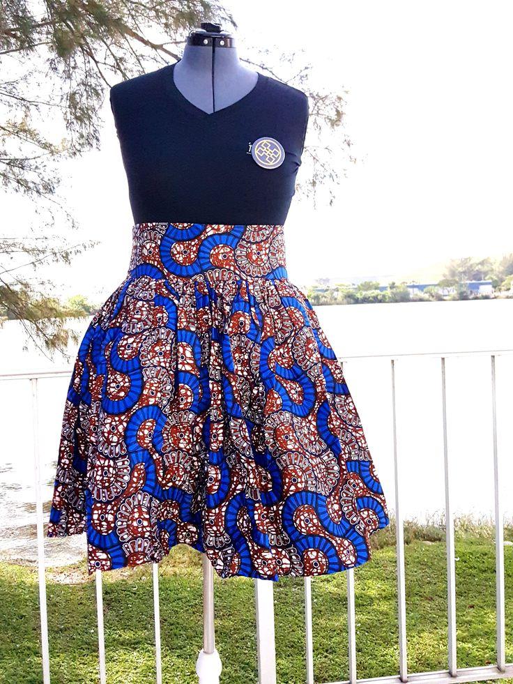 African Print Midi Flare Skirt
