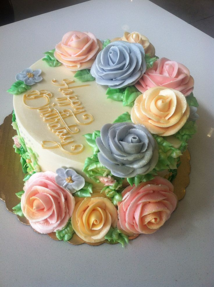 Spring buttercream cake - beautiful piped roses.
