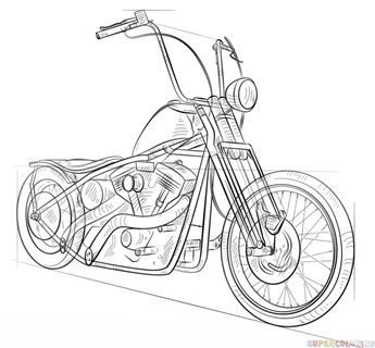How to draw a chopper bike step by step. Drawing tutorials for kids and beginners.