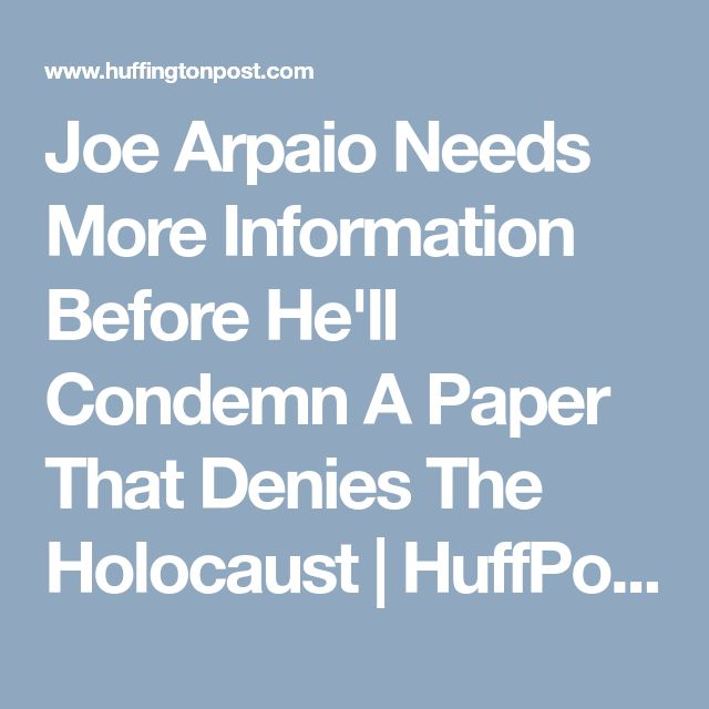 Former sheriff Joe Arpaio gave an interview to a far-right publication that has pushed wildly anti-Semitic claims that the Holocaust was a hoax and that the Sept. 11, 2001 terror attacks were the result of a Jewish plot.  Arpaio talked to the American Free Press on Jan. 21, arguing for his viability as a Senate candidate and defending President Donald Trump's agenda, according to a report from the liberal media watchdog group Media Matters.