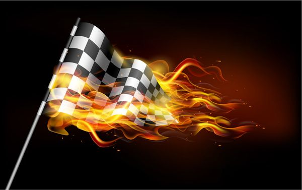 Race Track Wall Art >> XOO Plate :: Flaming Car Racing Flag Illustration - Black ...
