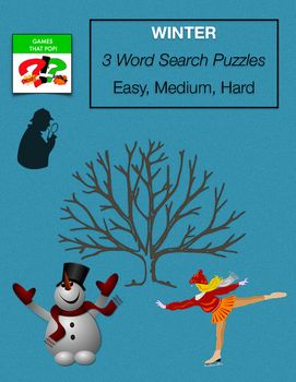 Winter word search puzzles. Three Word Search puzzles for kids or adults. Winter word search or January word search. Easy word search for younger elementary, Medium word search for older elementary, and Hard word search for Junior High and High School. Adults would enjoy the hard word search level as well. The easy word search puzzle also has a mystery puzzle included for additional fun.An answer sheet is included for each word search level with an easily marked grid.