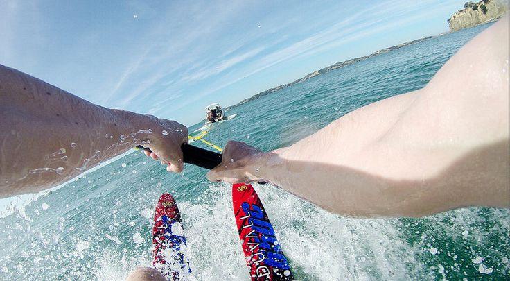 Learning to waterski! Auckland's Hauraki Gulf, New Zealand