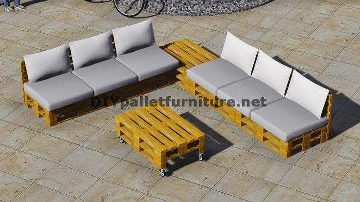 Mueblesdepalets.net: Diseño de sofá esquinero con mesa de palets