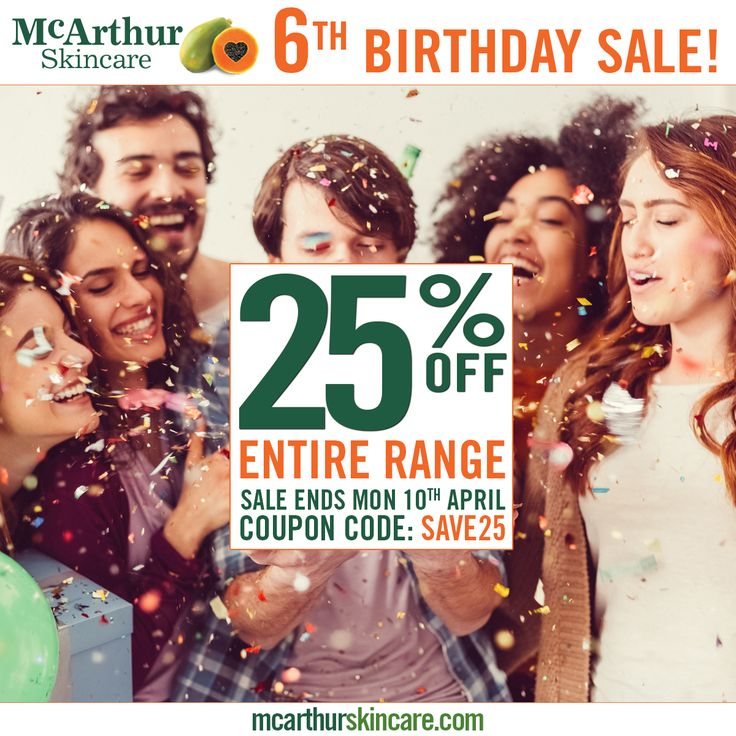 Save 25% OFF McArthur Skincare 6th Birthday Sale Ends Soon!  Help us to celebrate our 6th birthday. Save 25% OFF the entire range of McArthur Skincare during our birthday week in our online store by using coupon code: SAVE25 at the final stage of the checkout.   This offer is not available in conjunction with any other offer. Sale offer expires Midnight (AWST) Monday 10th April, 2017.  Orders over $80 receive FREE shipping in Australia.  Shop Now: http://mcarthurskincare.com/products/  Use…
