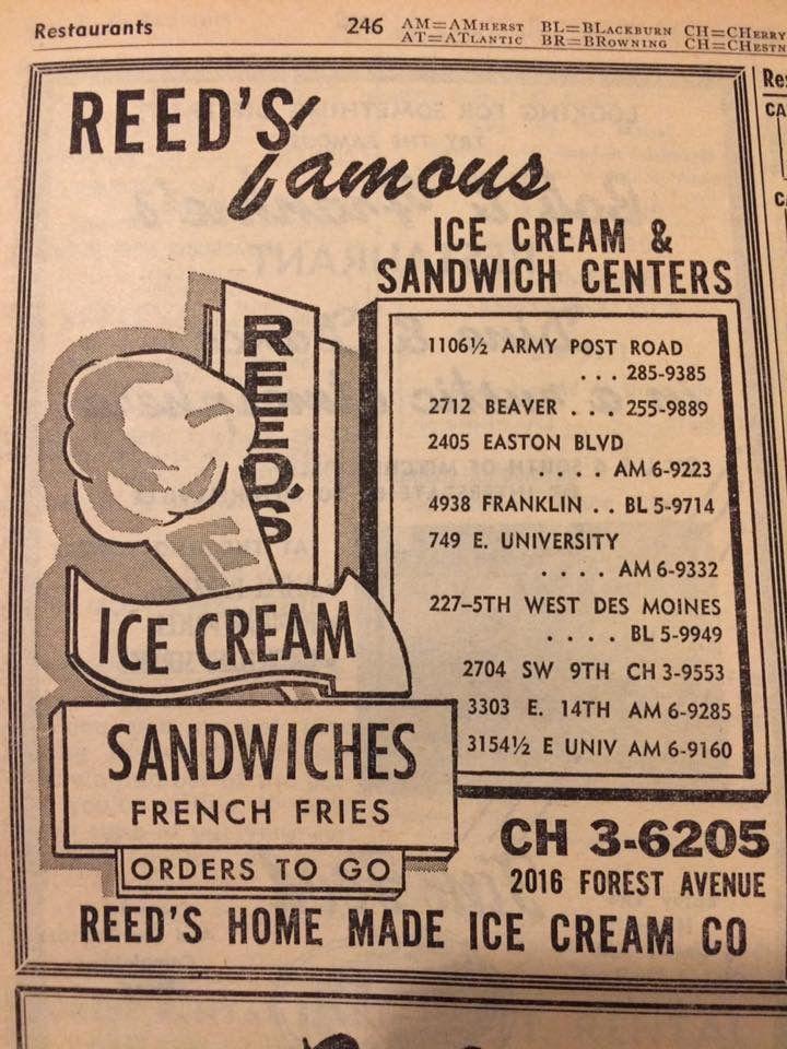 Reeds ice cream, Des Moines