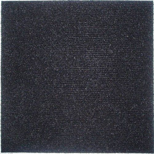 Peel and Stick Carpet Tiles Black 12 Inch 144 Square Feet by Homeworx. $99.99. mildew resistant. peel and stick. easy to install. easy to install self stick black carpet tiles, each box contains 12, 12 in. x 12 in. tiles, each carton contains 12 boxes, so this carton will cover 144 square feet! mildew and stain resistant easy to remove a tile if you need to replace one.. Save 50%!