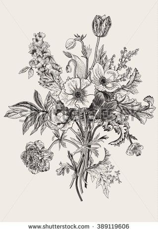 Victorian bouquet. Spring Flowers. Poppy, anemones, tulips, delphinium. Vintage botanical illustration. Vector design element. Black and white. Engraving - stock vector