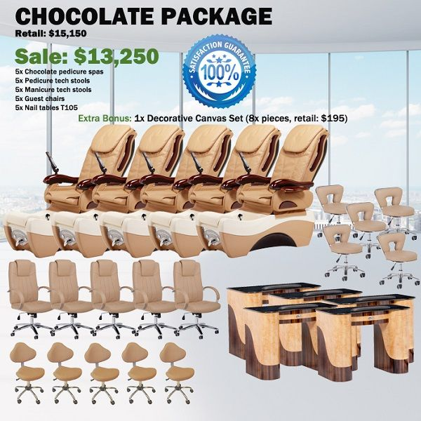Chocolate Spa Pedicure Chair Package – Free shipping - $12850 ,  https://www.ebuynails.com/shop/chocolate-spa-pedicure-chair-package-free-shipping/  #furniture #spasalon #spafurniture #nailtable #salonfurniture #nailsalon