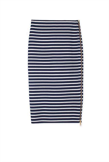Side Zip Stripe Skirt