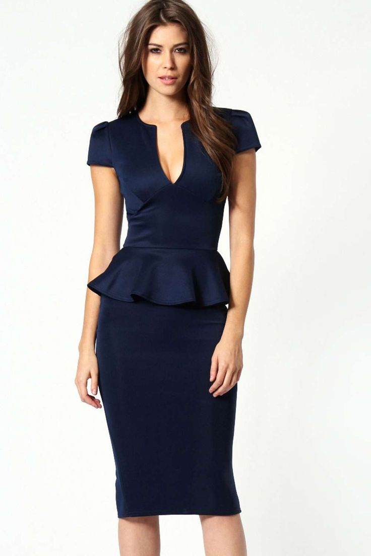 Emily Slit Neck Cap Sleeve Peplum Midi Dress alternative image